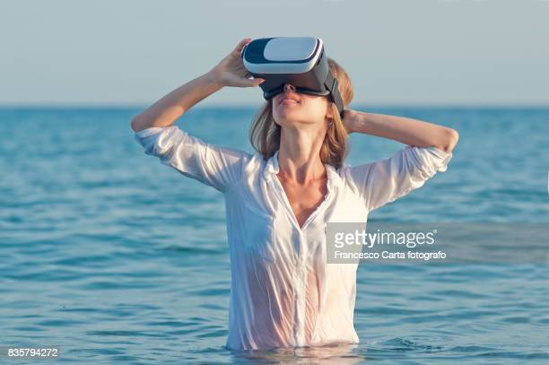 virtual reality - wet shirt stock photos and pictures