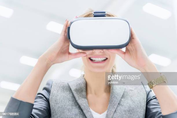 virtual reality & playful warehouse manager - flying goggles stock pictures, royalty-free photos & images