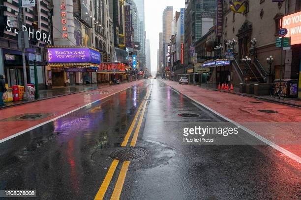 Virtually empty 42nd street in Manhattan on first day of Stay at Home executive order