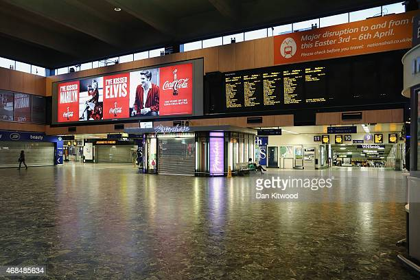 Virtually empty Euston train station on April 3, 2015 in London, England. People travelling by train over the Easter weekend faced travel delays as a...
