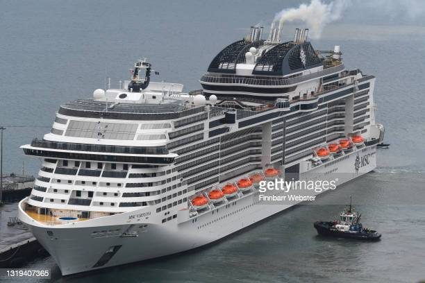 Virtuosa arrives at the port on May 22, 2021 in Portland, England. MSC Virtuosa is the first cruise ship with passengers after more than a year...
