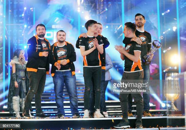 Virtuspro with the trophy after Dota 2 Major Final match between Vici Gaming and Virtuspro on February 25 2018 in Katowice Poland