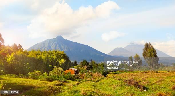 montañas de virunga y volcanes en rwanda - ruanda fotografías e imágenes de stock