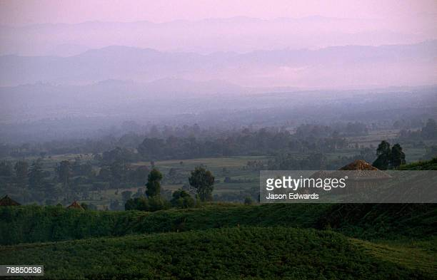 Village and farmland at the foot of the Virunga Mountains.