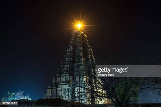 virupaksha temple at night, hampi, karnataka, india - karnataka stock pictures, royalty-free photos & images