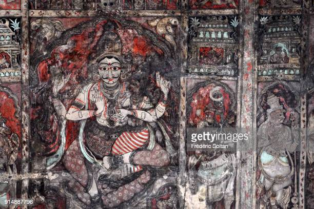 Virupaksha Temple is dedicated to Shiva, known here as Virupaksha, mural painting. Hampi is a village and a group of monuments, a UNESCO World...