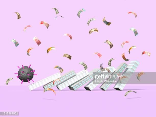 virus is domino effecting office building shape blocks - 景気後退 ストックフォトと画像