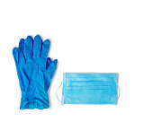 virus protection. blue rubber gloves and a medical mask on a white background.