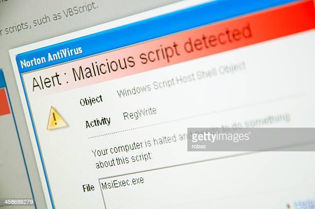 Virus warning on computer screen.