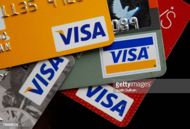 Visa credit cards are arranged on a desk February 25 2008 in San Francisco California Visa Inc is hoping that its initial public offering could raise...