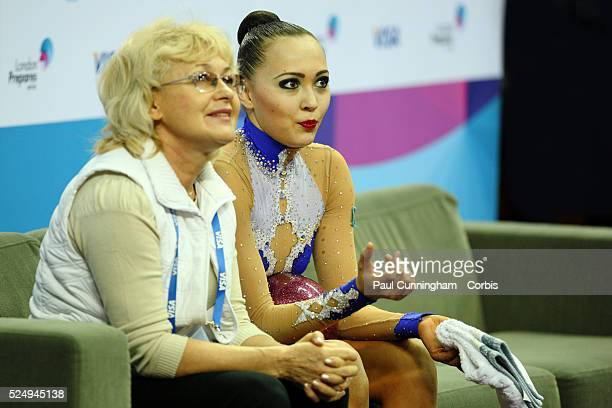Visa Federation of International Gymnastics Anna Alyabyeva of Kazakhstan performs with the Ball during the Women's Rhythmic Olympic qualification...