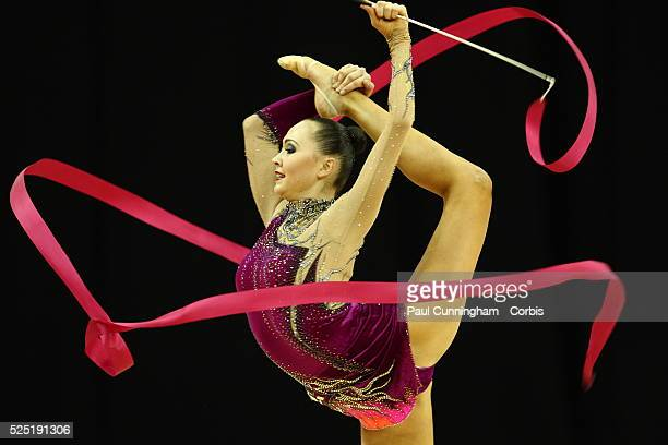 Visa Federation of International Gymnastics Anna Alyabyeva of Kazakhstan performs with the Ribbon during the Women's Rhythmic Olympic qualification...