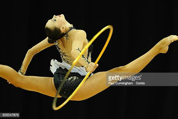 Visa Federation of International Gymnastics Anna Alyabyeva of Kazakhstan performs with the Hoop during the Final of the Women's Rhythmic Olympic...