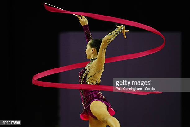 Visa Federation of International Gymnastics Anna Alyabyeva of Kazakhstan performs with the Ribbon during the Final of the Women's Rhythmic Olympic...