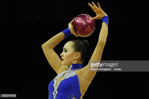 Visa Federation of International Gymnastics Anna Alyabyeva of Kazakhstan performs with the Ball during the Final of the Women's Rhythmic Olympic...