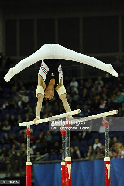 Visa Federation of International Gymnastics Daniel Corral Barron of Mexico performs on Parallel Bars during the Men's Final at the O2 Arena London 13...