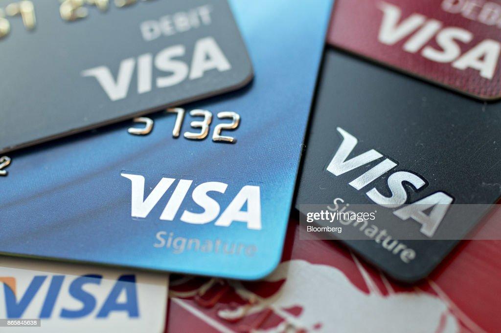 Visa Inc. Credit Cards Ahead Of Earnings Figures : News Photo
