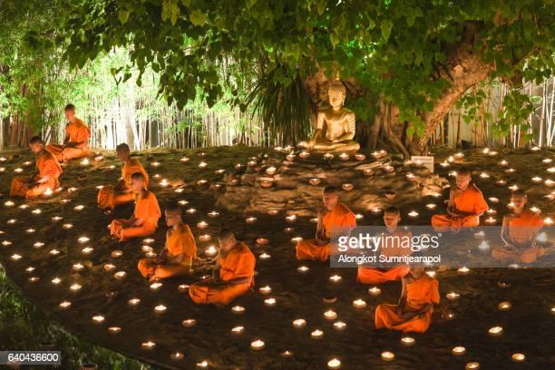 visakha puja day at wat phan tao temple, chiangmai,thailand - yi peng stock pictures, royalty-free photos & images