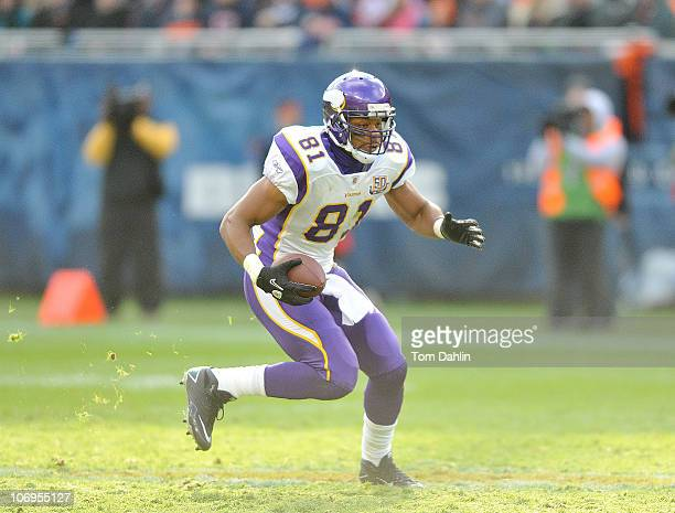 Visanthe Shiancoe of the Minnesota Vikings carries the ball during an NFL game against the Chicago Bears at Soldier Field November 14 2010 in Chicago...