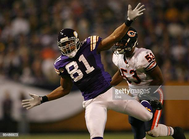 Visanthe Shiancoe of the Minnesota Vikings reacts after Nick Roach of the Chicago Bears is called for pass interference on November 29 2009 at Hubert...