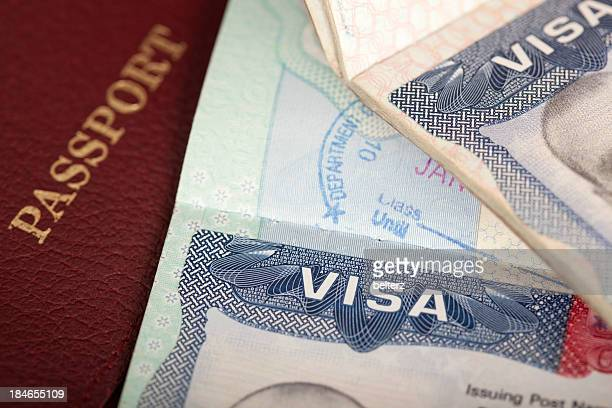 visas and passport - passport stamp stock photos and pictures