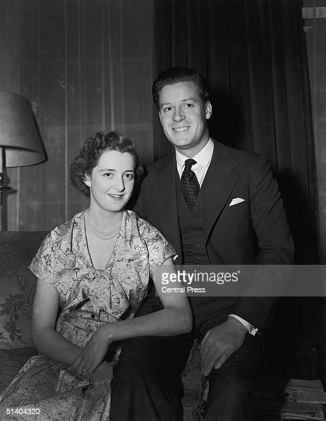 Viscount Althorp son of the Earl and Countess Spencer with his fiancee eighteen year old Hon Frances Roche daughter of Lord and Lady Fermoy on the...