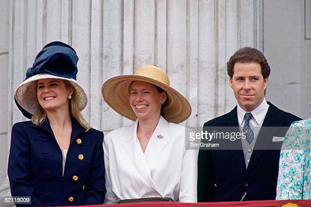Viscount And Viscountess Linley With Lady Sarah Chatto On The Balcony At Buckingham Palace For Trooping The Colour