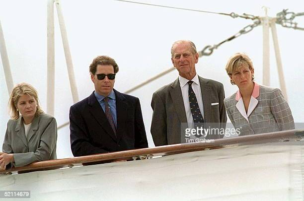 Viscount And Viscountess Linley With Prince Philip And Sophie Rhysjones On Royal Yacht Prior To Disembarking Hmy Britannia At Aberdeen Scotland