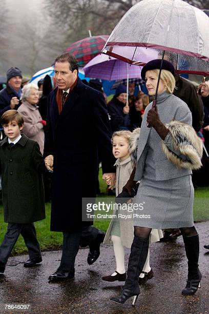 Viscount and Viscountess Linley with their children Charles and Margarita join other members of the Royal Family for Christmas Day service at...