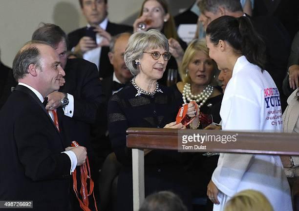 Viscount Crichton Birgitte Duchess of Gloucester and KeriAnne Payne attend the House of Commons v House of Lords Speedo Charity Swim Gala Dinner at...