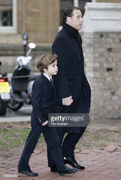 Viscount David Linley and his son Charles ArmstrongJones attend a Thanksgiving Service for the life of their friend James WentworthStanley 21 year...