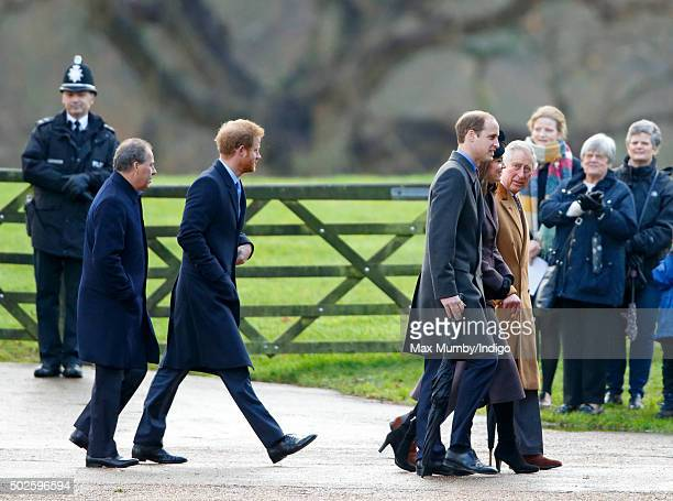 Viscount David Linley Prince Harry Prince William Duke of Cambridge Catherine Duchess of Cambridge and Prince Charles Prince of Wales attend the...