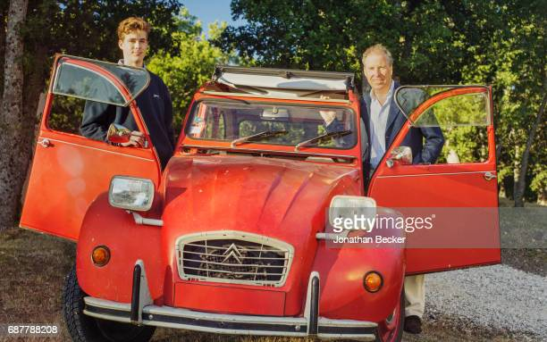 Viscount David Linley the second Earl of Snowdon and son Charles are photographed for Vanity Fair Magazine on July 13 2016 at Château dAutet with...