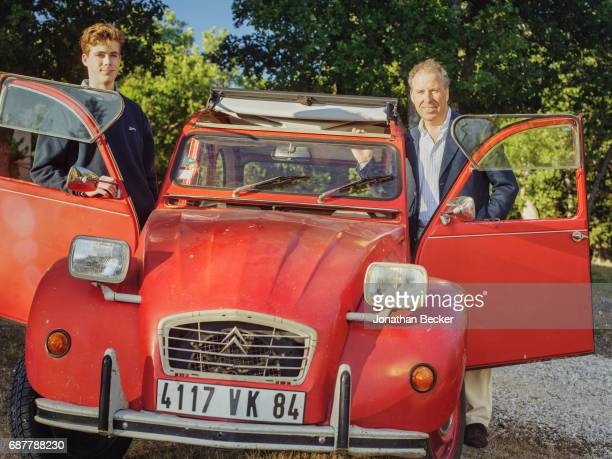 Viscount David Linley, the second Earl of Snowdon and son Charles are photographed for Vanity Fair Magazine on July 13, 2016 at Château dAutet, with...