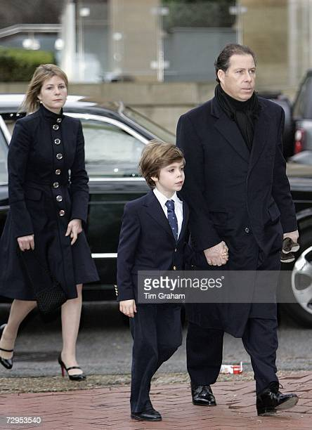 Viscount David Linley Viscountess Serena Linley and their son Charles ArmstrongJones attend a Thanksgiving Service for the life of their friend James...