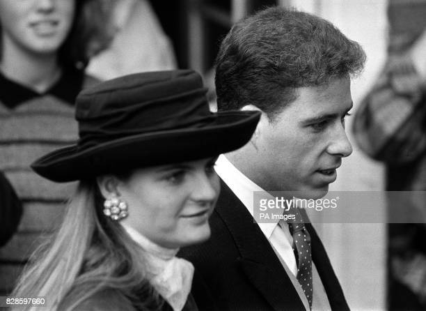 Viscount Linley and his friend Susannah Constantine walk to St Mary's church to join the congregation including many members of the Royal family for...