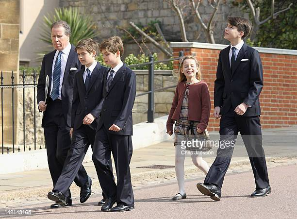 Viscount Linley with his children Margarita ArmstrongJones Charles Patrick Inigo ArmstrongJones and nephews Samuel Chatto and Arthur Chatto arrive...