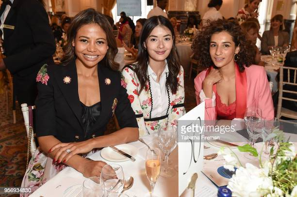 Viscountess Emma Weymouth guest and Pia Stanchina attend the Foreign Sisters annual lunch held at The Landmark Hotel on May 10 2018 in London England