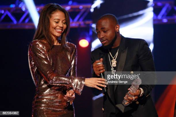 Viscountess Emma Weymouth presents the Best African award to Davido on stage at the MOBO Awards at First Direct Arena Leeds on November 29 2017 in...