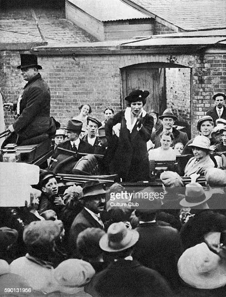 Viscountess Nancy Astor , first female member of parliament on her election campaign in 1919