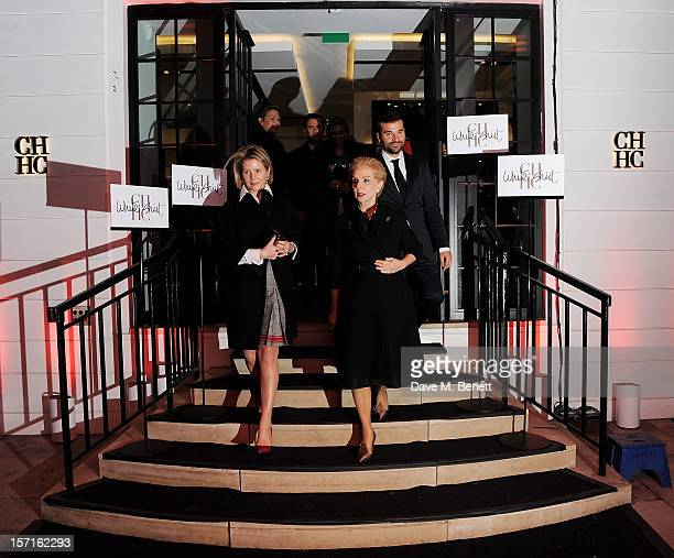 Viscountess Serena Linely and Carolina Herrera arrive at the launch of CH Carolina Herrera's White Shirt Collection at their new Fulham Road store on...