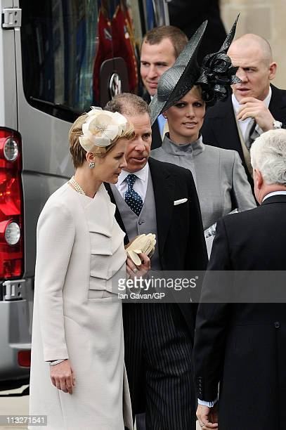Viscountess Serena Linley Viscount David Linley Zara Phillips and Mike Tindall exit Westminster Abbey after the Royal Wedding of Prince William to...