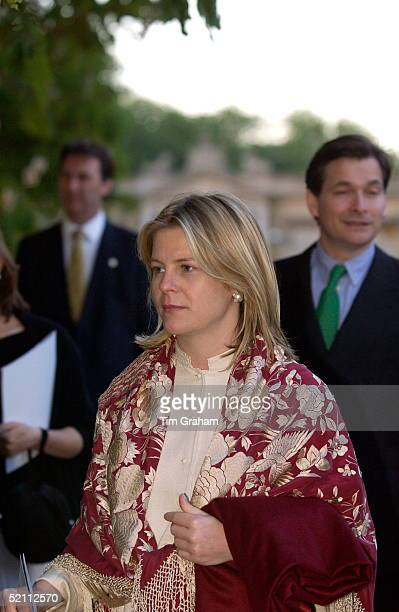 Viscountess Serena Linley Wearing A Burgundy And Gold Shawl Arrivingto Watch prom At The Palace In The Grounds Of Buckingham Palace It Is A Unique...
