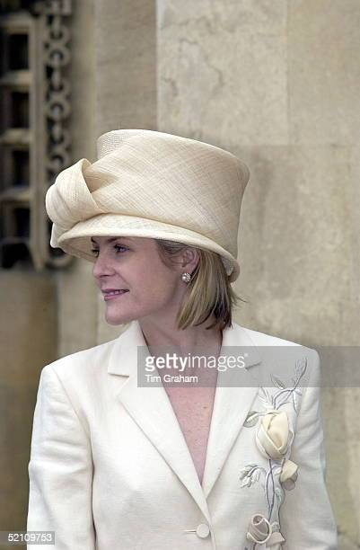 Viscountess Serena Linley Wearing A Cream Hat Attending A Service At St George's Chapel Windsor Berkshire To Mark The 80th Birthday Of The Duke Of...