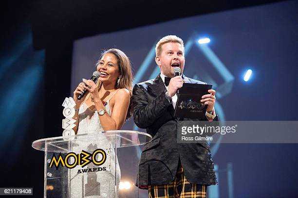 Viscountess Weymouth and Greg McHugh read out the nominations for the best reggae act at the MOBO Awards show at The SSE Hydro on November 4 2016 in...