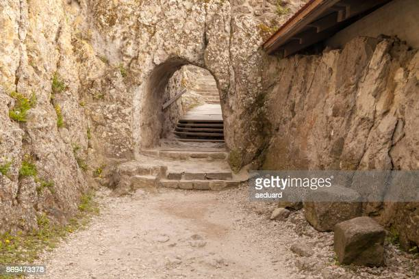 Visegrad Castle alley carved into rock