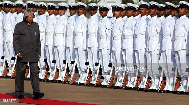 Indian President Sri Abdul Kalam walks past a Navy honor guard in Vishakapatnam 700 kms southeast of Hyderabad 11 February 2006 Kalam will...