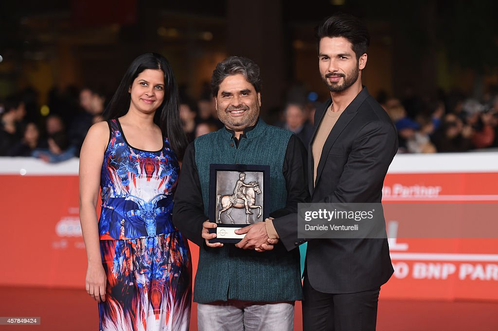 Vishal Bhardwaj, Amrita Pandey and Shahid Kapoor pose with the People's Choice Award Mondo Genere during the Award Winners Photocall during the 9th Rome Film Festival at Auditorium Parco Della Musica on October 25, 2014 in Rome, Italy.