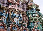 Vishnu and Hanuman statue on Gopuram.