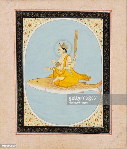 Vishnu as the fish avatar Matsya 18051815 Dimensions height x width mount 557 x 407 cmheight x width page 267 x 22 cmheight x width painting 187 x...